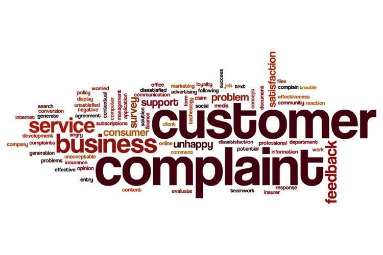 Customer complaint word cloud