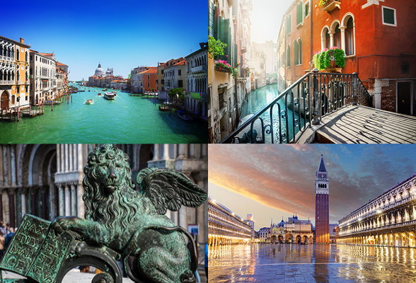 Collage of images showing Venice