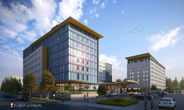 Rendering of the new Interstate Hotel - Credit: Studio 19 Architects