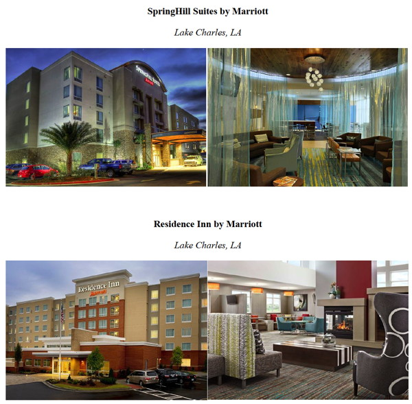 Exterior photos of the Residence Inn and SpringHill Suites by Marriott in Lake Charles, Louisiana