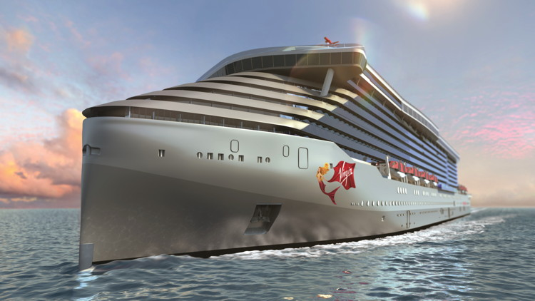 Virgin Voyages Ship - Rendering of front of ship