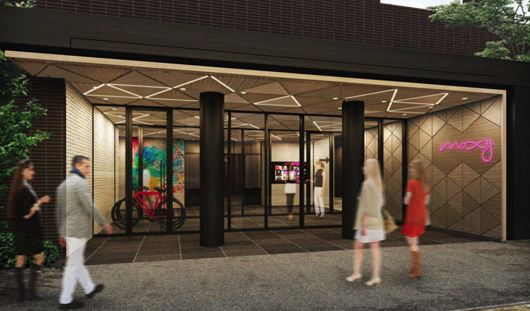 Rendering of the Moxy Tokyo Kinshicho Hotel Entrance