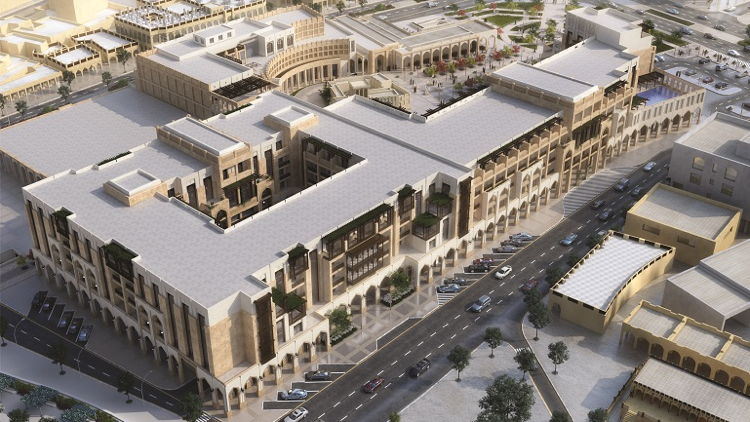 Aerial Rendering of the Al Najada Complex Doha