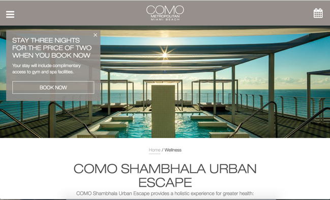 Screenshot - COMO Metropolitan Miami Beach website