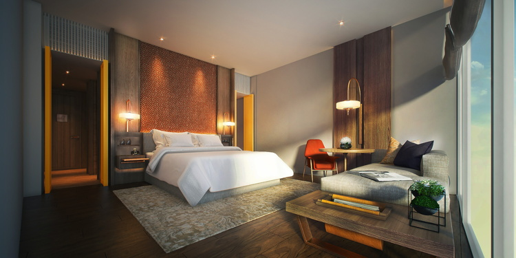 Guest room at the Andaz Singapore Hotel