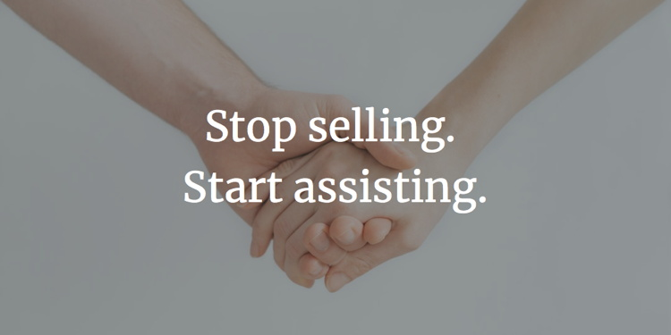 Two hands touching and the words 'Stop Selling - Star Assisting'