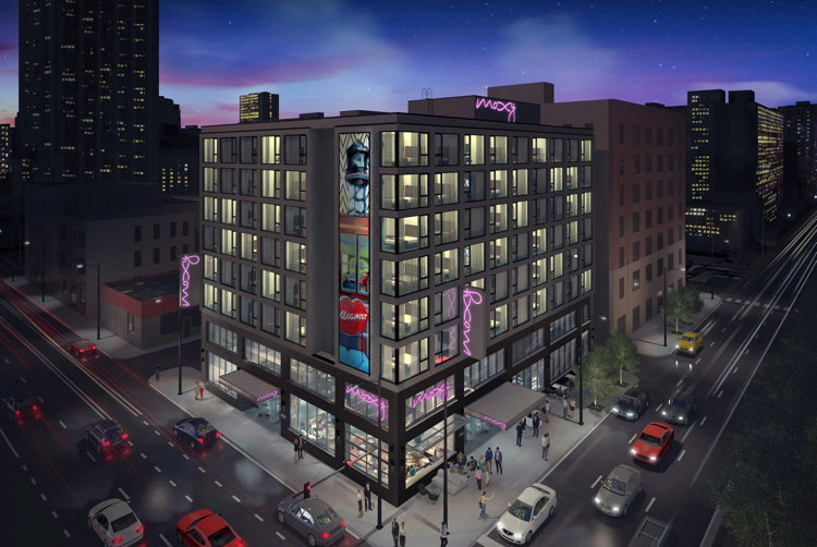 Rendering of the Moxy Chicago Downtown
