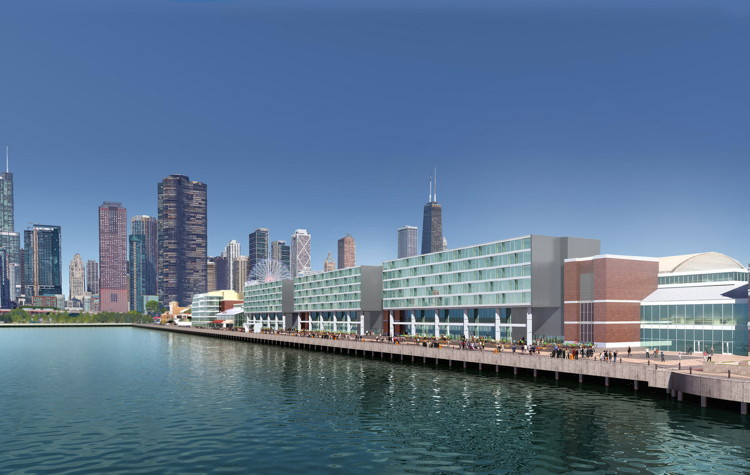 Rendering of the Navy Pier Hotel