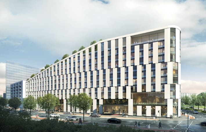 Rendering of the Scandic Hotel in Frankfurt