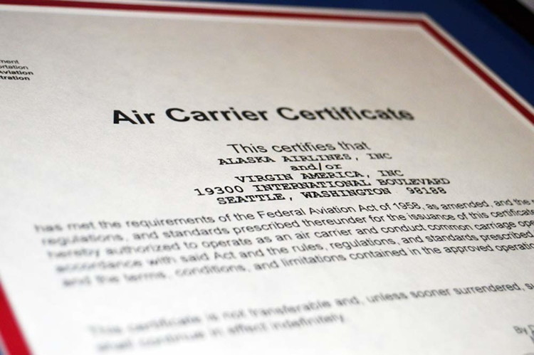 The Alaska Airlines Single Operating Certificate from FAA