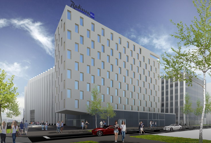 Rendering of the Radisson Blu Hotel Timisoara in Romania