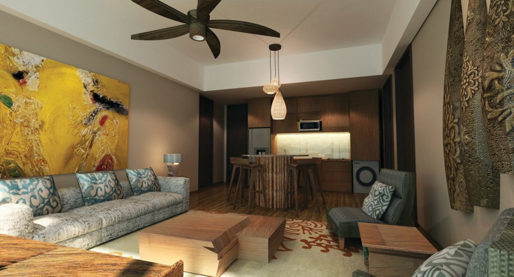 Living and dining area for one- and two-bedroom apartments at the all-new Marriott's Bali Nusa Dua Gardens on the island of Bali. Photo courtesy Marriott Vacation Club.