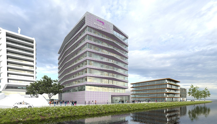 Rendering of the MOXY Hotel and Residence Inn by Marriott in the Houthavens area of Amsterdam