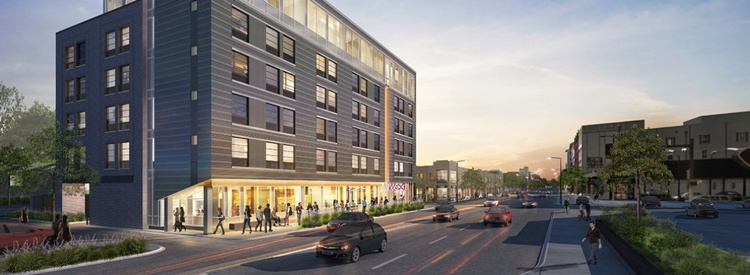Rendering of the the Moxy Minneapolis Uptown Hotel