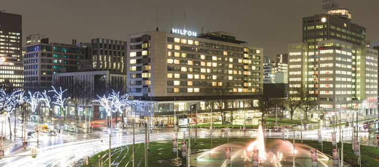 Hilton Rotterdam Hotel - Exterior at night