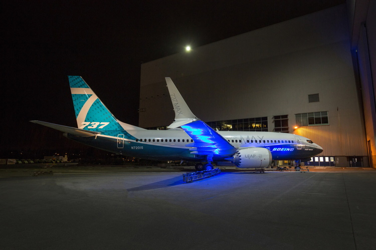 The first Boeing 737 MAX 7 made its debut today at the company's Renton, Wash. factory.