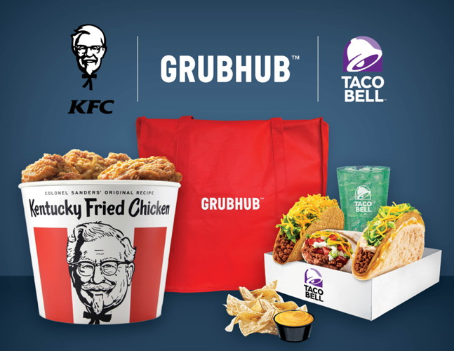Grubhub and various Yum! Brands logos