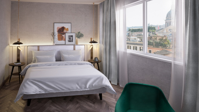 Rendering of ta guestroom at the DoubleTree by Hilton Rome Monti