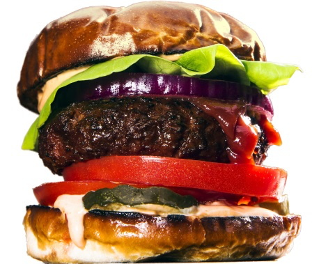 This may look like a traditional burger, but it's actually made from plant-based ingredients.