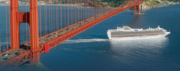A Princess Cruises ship under the Golden Gate Bridge - Source Princess Cruises