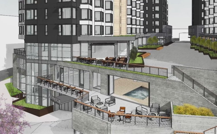 Rendering of the Cambria Hotel on Marina Square in Bremerton, Wash