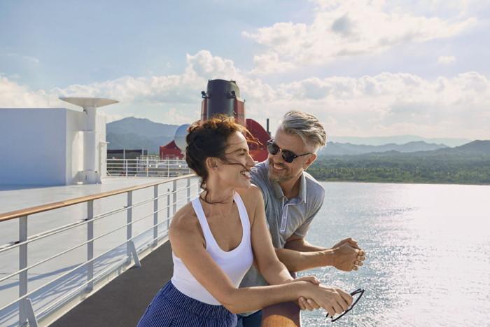 A couple aboard a cruise ship