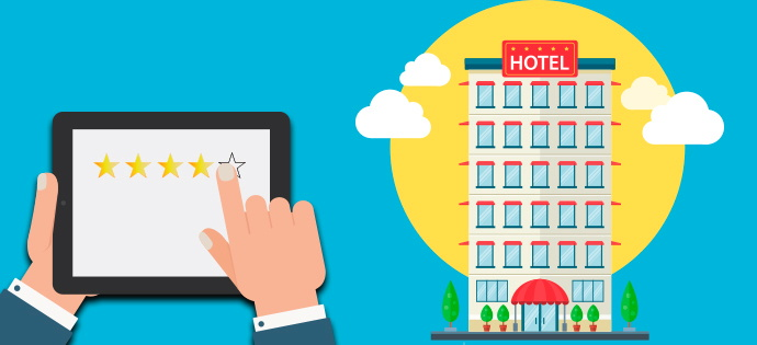 Illustration - tablet and a hotel - online review concept