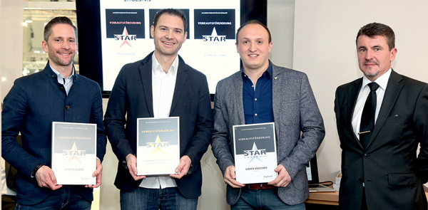 SiteMinder's regional manager - DACH, Clemens Fisch (second from left), accepting the award Sunday