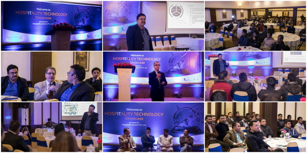 Collage of photos from Hospitality Technology Showcase, Nepal