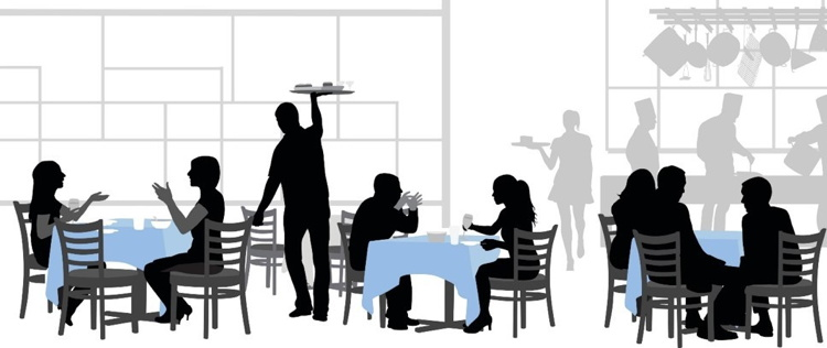 Illustration of a scene in a restaurant