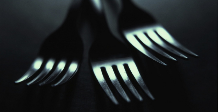 Close up of three forks