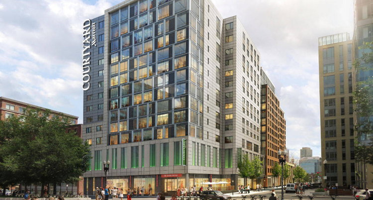 Rendering of the Courtyard by Marriott Boston Downtown/North Station Opens