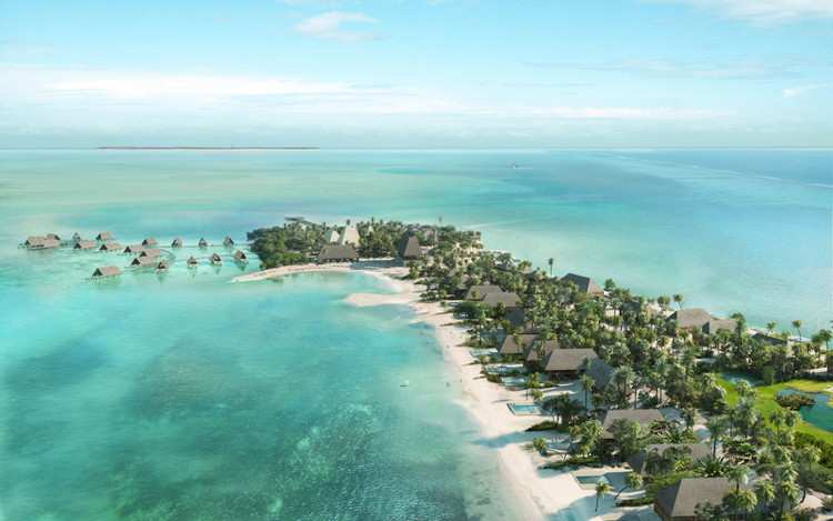 Rendering of the Four Seasons Resort and Residences Caye Chapel in Belize