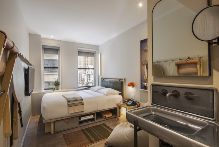Guestroom at the Moxy Times Square Hotel