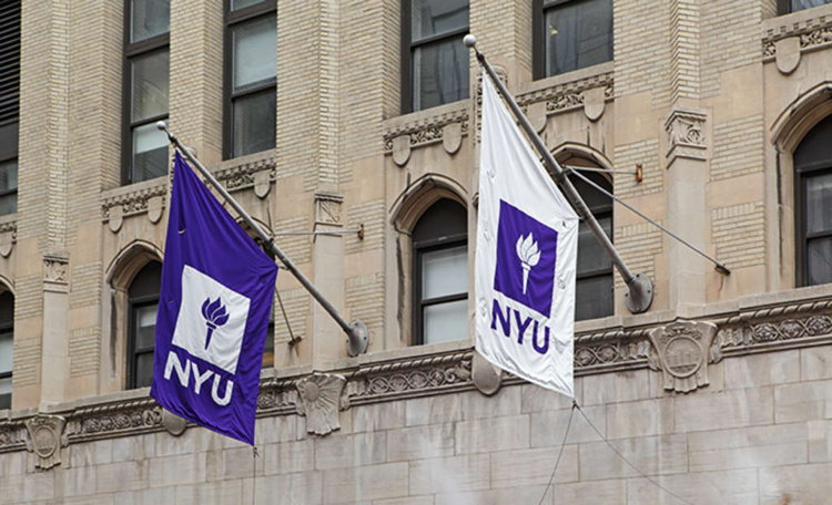 NYU Exterior with flags