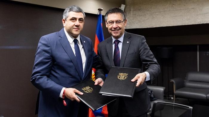 UNWTO Secretary-General Zurab Pololikashvili and the President of FC Barcelona, Josep Maria Bartomeu