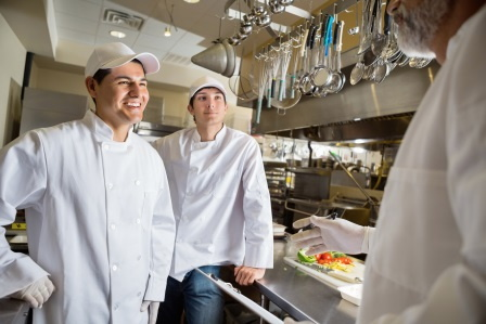 Apprentices in a kitchen