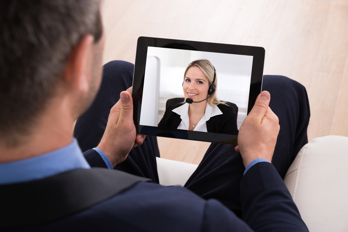 A video conference call using a tablet