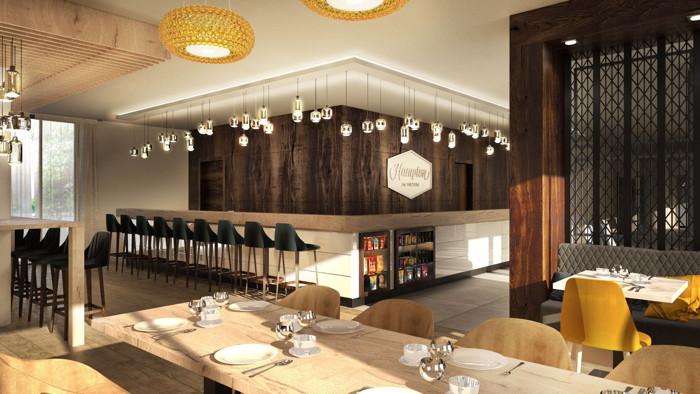 A rendering of the bar and dining area of the new Hampton by Hilton Dortmund Phoenix See in Germany