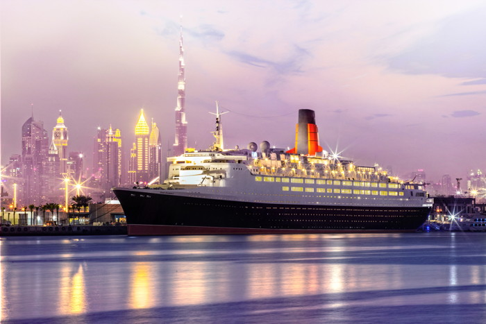 Rendering of the The Queen Elizabeth 2 (QE2) in Dubai