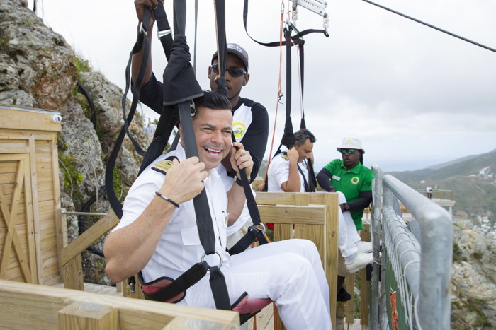 Carnival Sunshine hotel director, Freddy Esquivel gears up to ride the Flying Dutchman attraction at the new Rockland Estate eco-park attraction in St. Maarten.