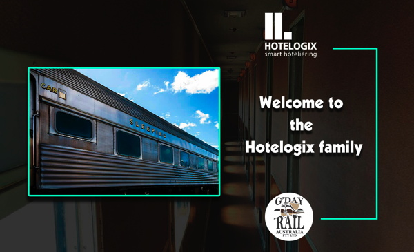 Hotelogix and G'Day Rail logos