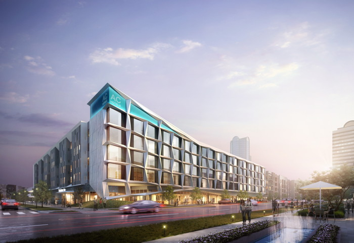 Rendering of the Dual-branded AC Hotel and Residence Inn Dallas by the Galleria