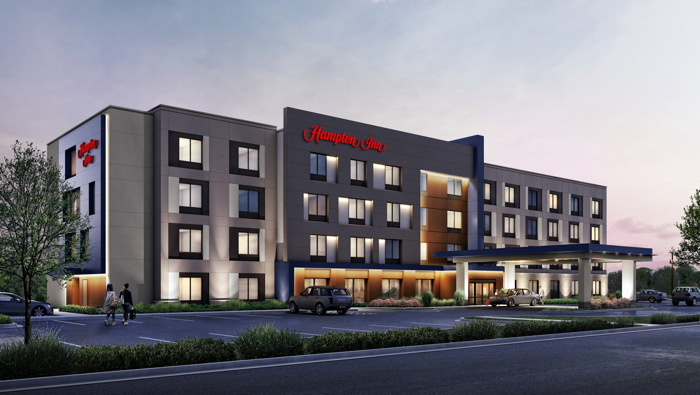 Exterior rendering of the new Hampton by Hilton prototype
