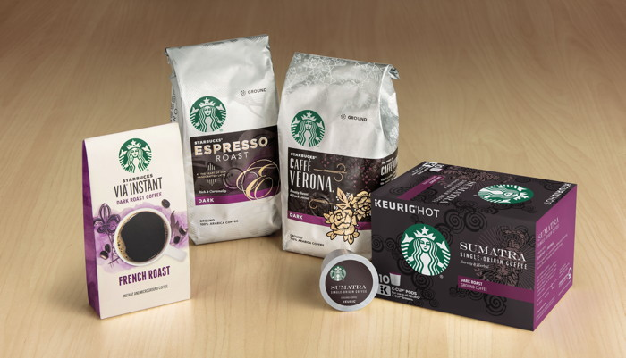 Various Starbucks' consumer packaged products