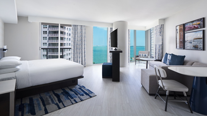 Guestroom at the Hyatt Centric Brickell Miami Hotel
