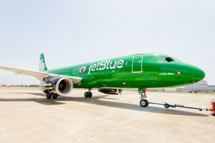 JetBlue jet with Boston Celtics Livery