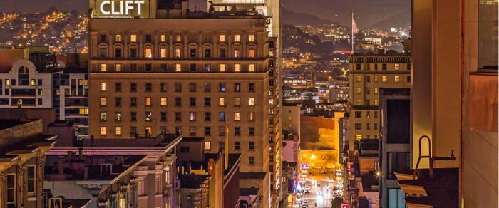 The Clift Royal Sonesta Hotel in San Francisco - Exterior at night