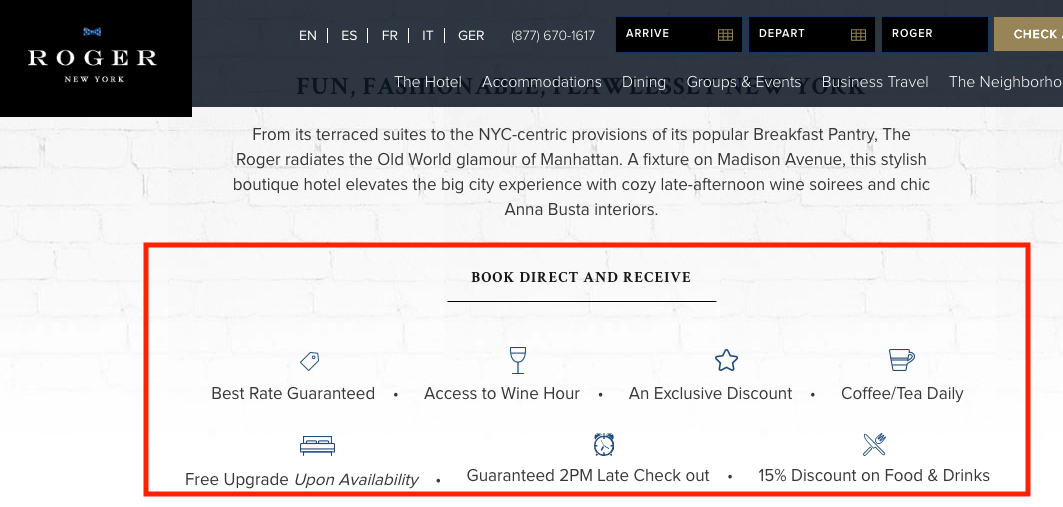 The Roger in NYC - screenshot of web site