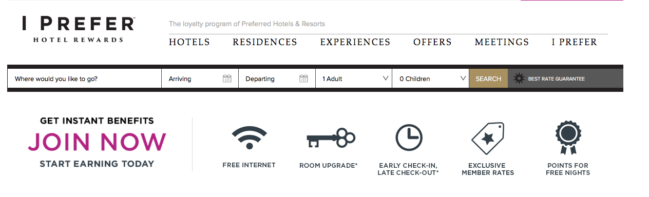 Screenshot - Preferred Hotels Rewards Program website